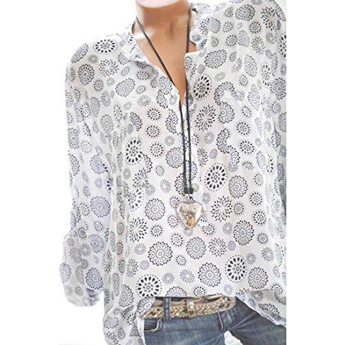 Femmes Manches Bringbring Plus Chemise Blanc Button Chemisier Size Chemise Hauts Imprimer Longues Pois qTf5Iwf