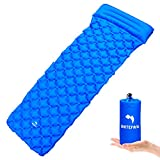 WhiteFang Ultralight Sleeping Pad Self Inflating Camping Gear with Pillow Portable Sleeping Mat for Backpacking, Hiking, Outdoor, Hammock, Sleeping Bag (Blue)
