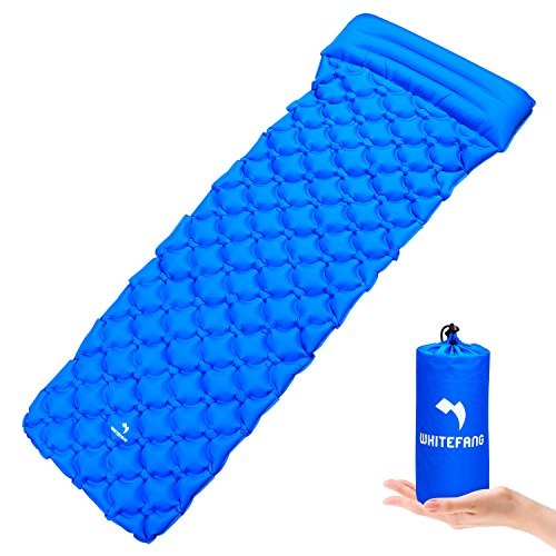 WhiteFang Ultralight Sleeping Pad Self Inflating Camping Gear with Pillow Portable Sleeping Mat for Backpacking, Hiking, Outdoor, Hammock, Sleeping Bag (Blue) by WhiteFang