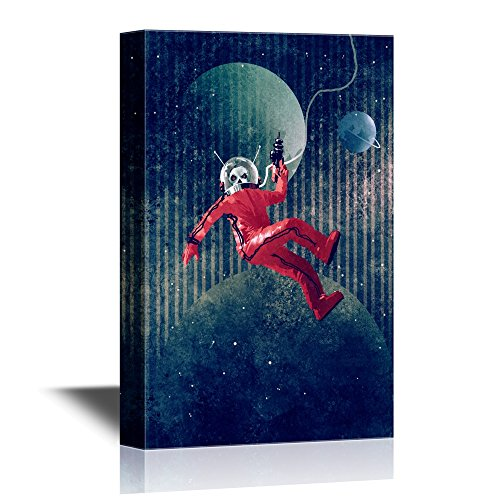 Space Man Astronaut in Red Suit Holding a Gun Against The Planet Earth Background