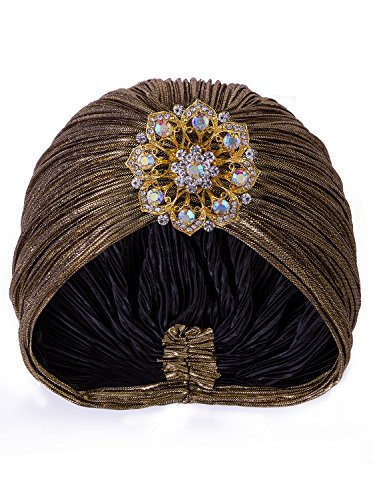 VIJIV Women's Vintage Lurex Knit Turban Beanie Hats Headwraps for 1920s Cocktail Party Gold]()