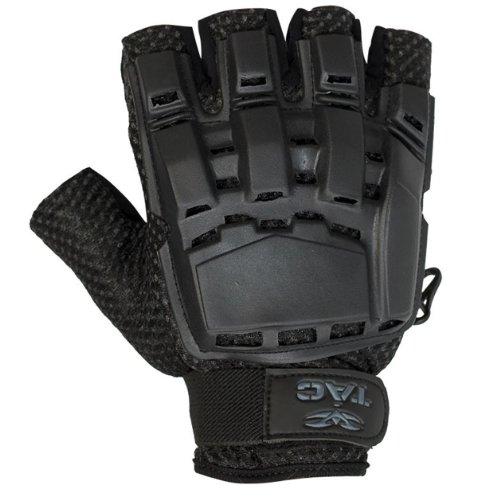 (Valken Paintball V-Tac Half Finger Plastic Backed Gloves - Black - XL/2XL)