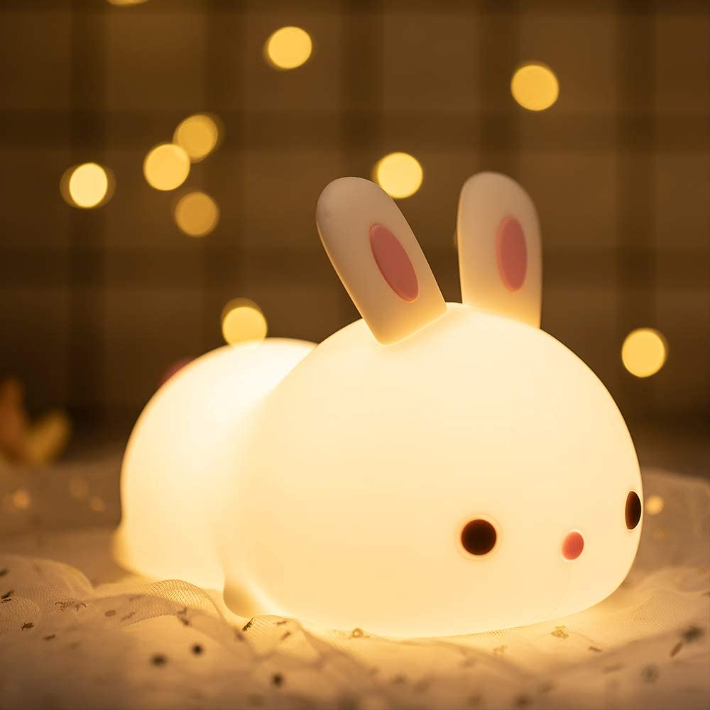 Amazon Com Cute Bunny Night Light Easter Gifts For Kids Toddler Teen Girls Boys Portable Animal Lamp For Bedroom Silicone Nursery Stuff Kawaii Room Decor Color Changing Squishy Baby Toys Light Up Anime Rabbit Home Kitchen
