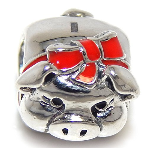 Piggy Silver Sterling Bank (925 Solid Sterling Silver Piggy Bank with Red Ribbon Charm Bead)