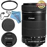 Canon EF-S 55-250mm Lens 8546B002 + 58mm UV Filter + Fibercloth + Lens Capkeeper Bundle