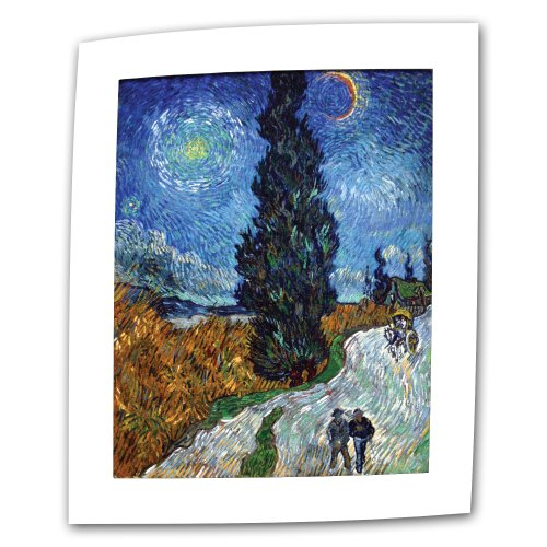 ArtWall Country Road in Provence by Night by Vincent Van Gogh 14 by 18-Inch Flat/Rolled Canvas Art with 2-Inch Accent Border (Border Provence)