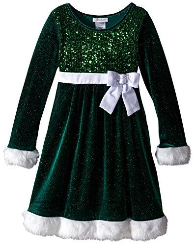 Bonnie Jean Big Girls' Little Miss Holiday Dress, Green, 16