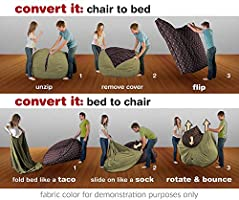 Incredible Cordaroys Chenille Bean Bag Chair Convertible Chair Folds From Bean Bag To Bed As Seen On Shark Tank Moss Queen Size Andrewgaddart Wooden Chair Designs For Living Room Andrewgaddartcom