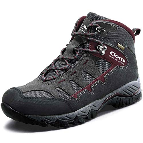 Clorts Men's Pioneer Hiking Boots Waterproof Suede Leather Lightweight Hiking Shoes Dark Grey/Dark Red US Men Size 11 Medium Width