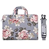 MOSISO Laptop Shoulder Bag Compatible 13-13.3 Inch MacBook Pro, MacBook Air, Surface Book, Notebook Computer, Canvas Rose Pattern Laptop Shoulder Messenger Handbag Case Cover Sleeve, Gray