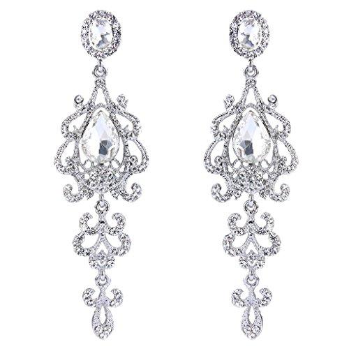 BriLove Womens Victorian Style Wedding Bridal Crystal Teardrop Chandelier Dangle Earrings