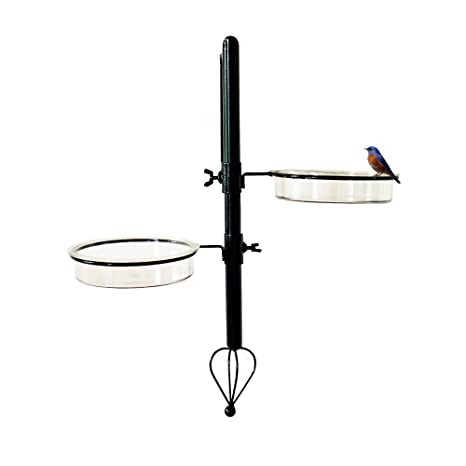 Ascent Homes Wall Mount Metal Bird Feeding Bath Station (Black, 8x6. 2x20)
