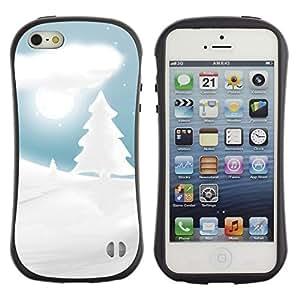 Suave TPU GEL Carcasa Funda Silicona Blando Estuche Caso de protección (para) Apple Iphone 5 / 5S / CECELL Phone case / / White Snow Winter Picea Tree Moon Night /