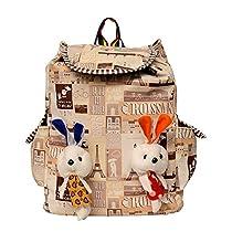 Roshiaaz Girl's Canvas Check Print Bunny Teddy Backpack (Beige)