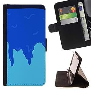 BullDog Case - FOR/Samsung Galaxy S6 EDGE / - / MINIMALIST BLUE ICE /- Monedero de cuero de la PU Llevar cubierta de la caja con el ID Credit Card Slots Flip funda de cuer