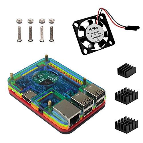 2 opinioni per Raspberry Pi 3 Model B Kit , 5 strati Case Custodia Ventola dissipatore di