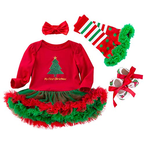 Newborn Baby Girls Christmas Costume Bodysuit Set Headband Leg Warmer Shoes Tutu Dress Up Party Outfits 0-3 Months -