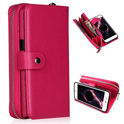 iPhone 6/6s Plus Wallet Case,YSJT Magnets Detachable Credit Card Slots with Zipper Classic Fashionable Cover Flip Premium PU Leather for iPhone 6/6s Plus 5.5 inch (Rose) (Iphone 6 Vs 6 Plus Vs 6s)