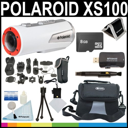 Polaroid XS100 Wi-Fi Extreme Edition HD 1080p 16MP Waterproof Sports Action Video Camera with Helmet & Bike Mounts + 8GB Card + Deluxe Case + Polaroid Accessory Kit
