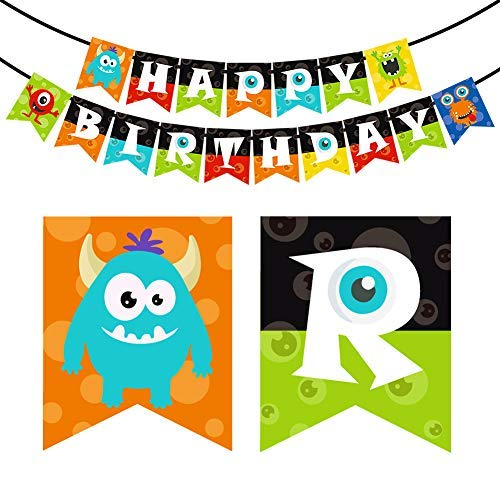 KREATWOW Monster Happy Birthday Banner Monster Bash Party Supplies -