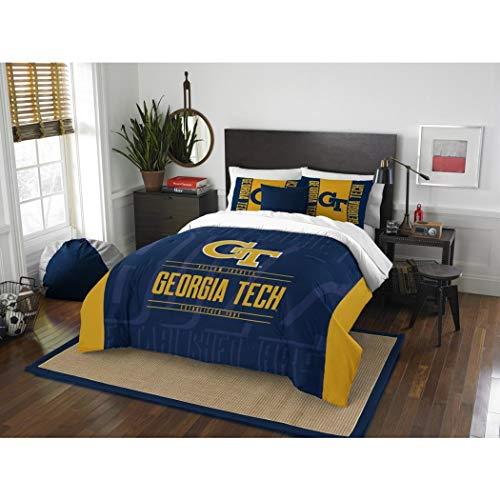 3 Piece NCAA Georgia Tech Yellow Jackets Comforter Full Queen Set, Sports Patterned Bedding, Featuring Team Logo, Fan Merchandise, Team Spirit, College Basket Ball Themed, Blue, Yellow, Unisex