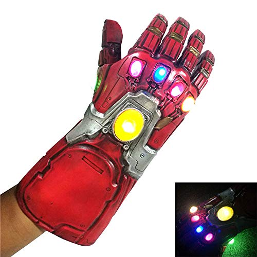 (Cosplay The Avengers Thanos Gauntlet, with LED Light Iron Man Latex Infinity Gloves Halloween Party Props (with LED Light) Red)