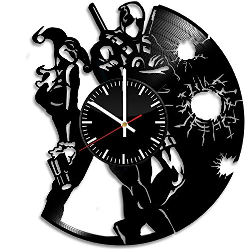 [Superhero Items Vinyl Record Wall Clock - Get unique living room or bedroom wall decor - Gift ideas for his and her – Unique Movie Fan Art] (Black People Costumes Ideas)