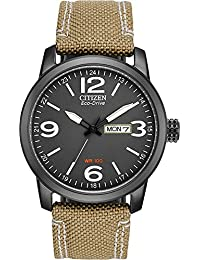 Citizen Men's BM8476-23E Sport Wrist Watch with Beige Band and Black Dial