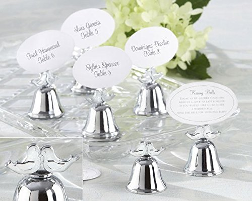 Lovebirds Silver-Finish Kissing Bell Place Card Holder (Set of 24) by Kateaspen