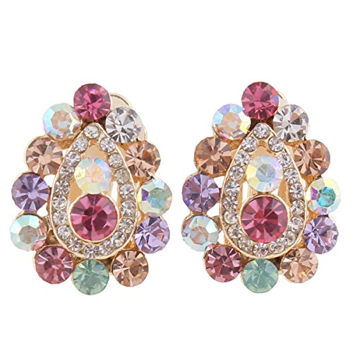 Grace Jun Bridal Multicolor Rhinestone Crystal Gold Plated Clip On Earrings Without Piercing 8 Colors Choose (185waterdrop)