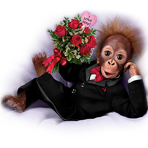 The Ashton-Drake Galleries Orangutan Doll in Tuxedo with a Rose Bouquet: Wild About You ()