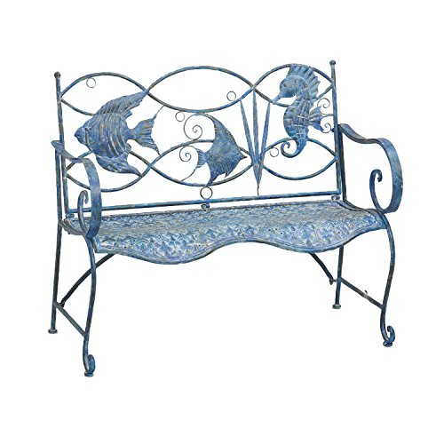 Cape Craftsmen Blue Fish Outdoor Safe Metal Bench