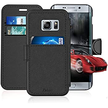 Samsung Galaxy S 7 Edge / S7 Edge Leather Wallet Case with Cards Slot and Metal Magnetic, Slim Fit and Heavy Duty, TAKEN Plastic Flip Case / Cover with Rubber Edge, for Women, Men, Boys, Girls (Black)