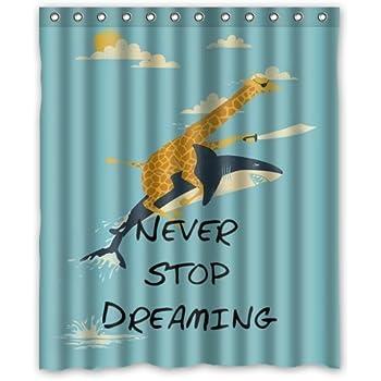 (60 X 72 ) Waterproof Bathroom Giraffe Riding Shark Never Stop Dreaming Shower  Curtain