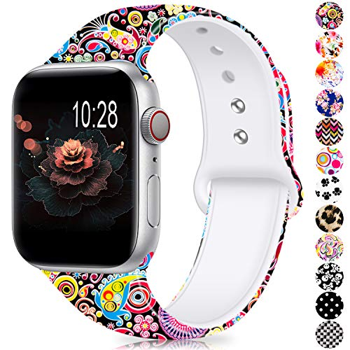 (Humenn Compatible with Apple Watch Band 38mm 40mm 42mm 44mm,Soft Silicone Fadeless Pattern Printed Replacement Bands Compatible for iWatch Apple 2018 Watch Series)