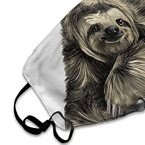 NOT Tropical Animal Smiling Sloth PM2.5 Mask, Adjustable Warm Face Mask Unique Cover Filters Blocking Pollen Pollution Germs£¬Can Be Washed Reusable Pollen Masks Cotton Mouth Mask for Men Women