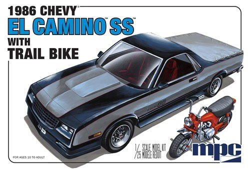 1986 Chevrolet El Camino SS with Dirt Bike Plastic Model Kit, , Paint and glue required,