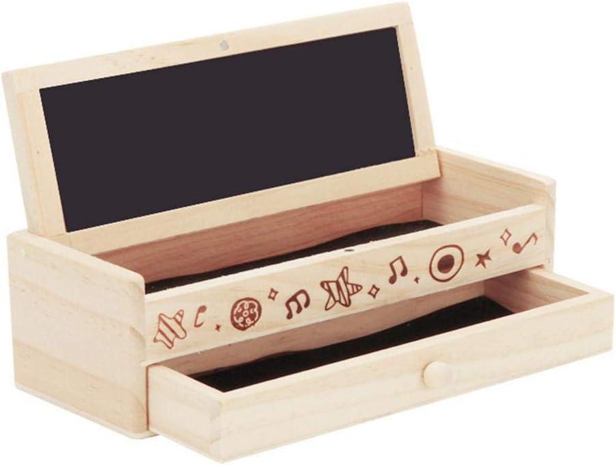 Estuche creativo de madera elegante caja de lápices vintage con pizarra de tiza, caja de almacenamiento para niños y estudiantes: Amazon.es: Oficina y papelería