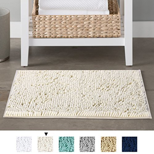 ber Bath Rugs Chenille Floor Mat Ultra Soft Washable Bathroom Dry Fast Water Absorbent Bedroom Area Rugs Indoor Mats for Entryway, Cream 17 inches by 24 inches (Chenille Ivory Fabric)