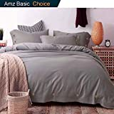 Duvet Cover Set Queen, 3 piece - 1200 TC Hotel Luxury Hypoallergenic Microfiber Down Comforter Quilt Bedding Covers with Deco Buttons, Zipper, Ties - Modern Style for Men Women Bedroom, Gray / Grey