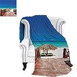 Digital Printing Blanket Walkway Heads to Sandy Beach Resort in Cuba Summer Day