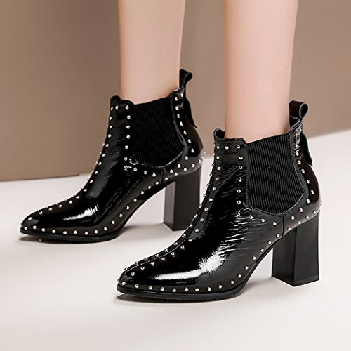 Ankle Latest Rivet Woman High wetkiss Bootie Lady Black Boot Heel Thick Shoes Chelsea Cow Leather qanxxwCgT