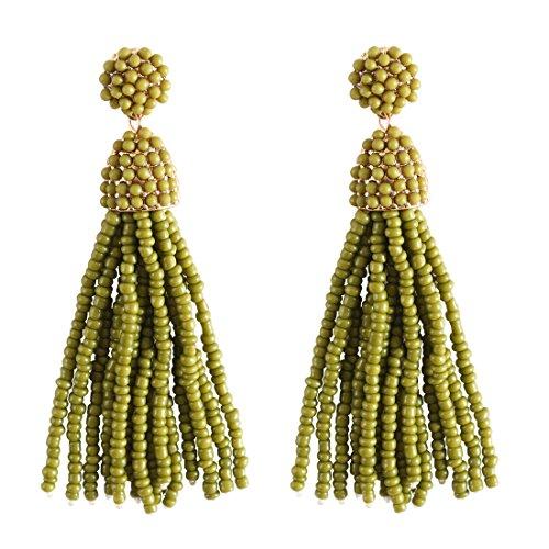 (NLCAC Women's Beaded tassel earrings Long Fringe Drop Earrings Dangle 6 Colors (olive-green))
