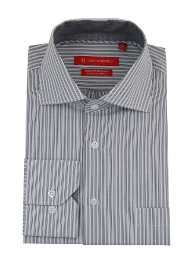 Gino Valentino Mens Striped Dress Shirt Cotton Spread Collar Barrel Cuff (16.5