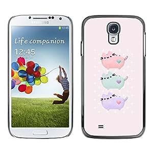TopCaseStore / la caja del caucho duro de la cubierta de protección de la piel - Drawing Pink Mint Green - Samsung Galaxy S4 I9500