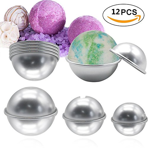 IDOMIK DIY Metal Bath Salt Bomb Mold 3 Size 12 Piece Aluminum Alloy Homemade Household Light Semicircle Sphere Handmade Soap Craft Making Kitchen Pastry Candy Cake Pudding Baking Shape (Silver, 12pcs)