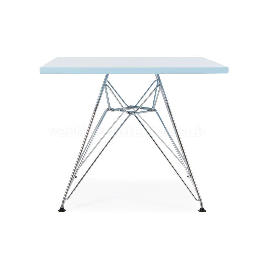 Eames Style Kids Dining Play Table - Metal DSR Eiffel Leg, Square Blue Top