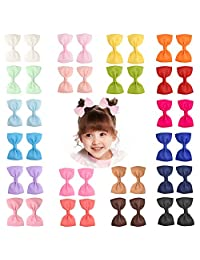 "Prohouse 40 PCS 3"" inches Baby Girls Ribbon Hair Bow Clips Barrettes For Girl Teens Kids Babies Toddlers"