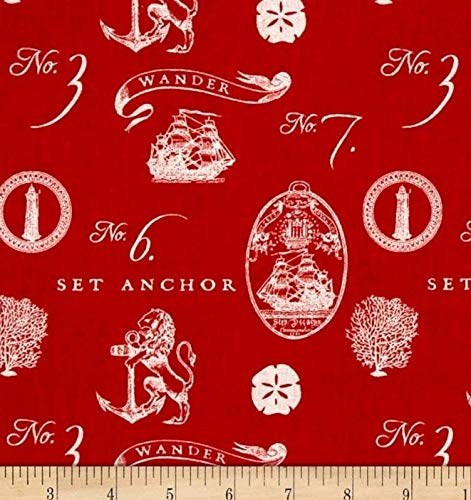 1/2 Yard - Set Anchor Sea Emblems on Red Cotton Fabric (Great for Quilting, Sewing, Craft Projects, Throw Pillows & More) 1/2 Yard X 44