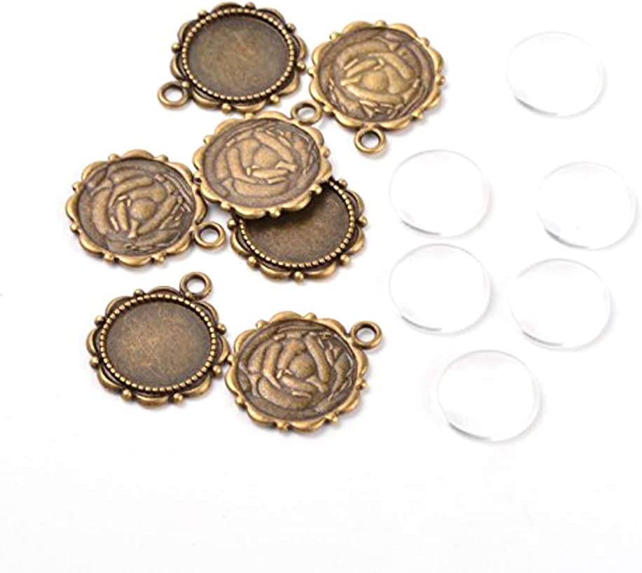 PEPPERLONELY 20 Sets Antiqued Bronze Flower Round Cabochon Bezel Setting Charm Pendant with Glass Cabochon Tray 14mm